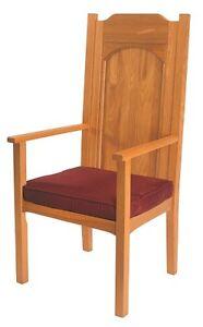 Saint Thomas More Celebrant Chair Medium Oak Stain Red Cushion
