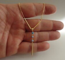 14K YELLOW GOLD OVER 925 STERLING SILVER NECKLACE PENDANT W/ TURQUOISE  / 20''
