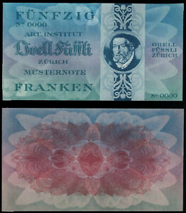 "Test Note Orell Füssli Switzerland, ""50 Franken"" 1950-60 Specimen type #1"