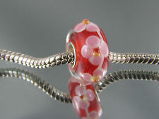 SINGLE SILVER CORE RED MURANO GLASS BEADS FOR EURO STYLE CHARM BRACELETS #MB 215