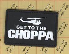 PVC Black GET TO THE CHOPPA Morale Patch Helicopter Predator Movie Uniform b11