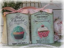 "~ A set of 2 ""Chocolate"" Shabby Chic ~ Country Cottage style ~ Wall Decor Sign ~"