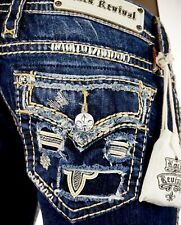 """$180 Buckle Rock Revival Jeans """"Destroyed Pockets"""" Leather Straight 30 X 28"""