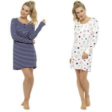 126092b55b Ladies Nightdress Long Sleeve Nightie Sleepwear Stripe Star Pattern 100%  Cotton