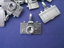 PACK OF 5 CAMERA CHARMS 20mm SILVER TONE METAL JEWELLERY MAKING PENDANTS (F3)