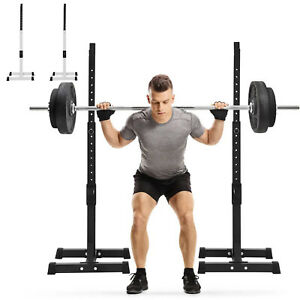 Adjustable Squat Barbell Rack Power Stand Weight Bench Support Home Gym Fitness