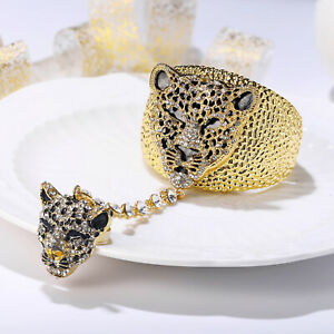 Women Leopard Panther Animal Bracelet Ring Set Crystal Gold Tone Party Gift