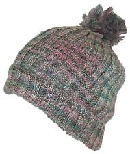 D&Y Womens Cuffed Knit Winter Beanie Hat W/Pom Pom, Cold, Snow #753 Pink/Beige