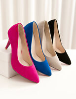 Ladies Womens Faux Suede High Heel Pointed Toe Pumps Court Shoes UK 1--8 D566
