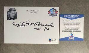 Mike McCormack Signed 4x6 Index Card Cut Beckett BAS COA Cleveland Browns HOF