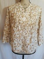 St Johns Bay Womens Petite Size PL Blouse 3/4 Sleeve Button Front V Neck Brown