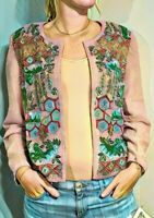 "Deadstock $1500 DIANE FREIS Vintage 1980s ""INDIA HAND-BEADED"" SILK Jacket Coat M"