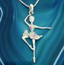 "BALLERINA Necklace Made With Swarovski Crystal Ballet 18"" Chain Multi Pendant"