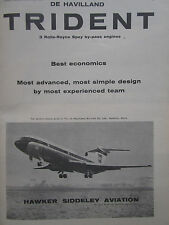 7/62 PUB HAWKER SIDDELEY DE HAVILLAND TRIDENT AIRLINER BEA AIRLINES ORIGINAL AD