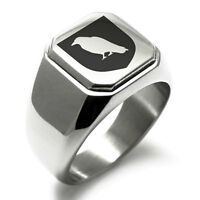 Stainless Steel Bringer of Death Coat of Arms Shield Biker Style Signet Ring
