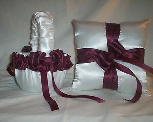 WHITE SATIN / BURGANDY TRIM FLOWER GIRL BASKET & RING BEARER PILLOW #1
