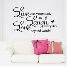 "Removable sticker Wall Quote Vinyl Decal ""Live every moment,Laugh every day"" AU"