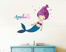 Multi Color Mermaid Wall Decal, Mermaid Sticker, Kids Name, Nursery Decor ga87
