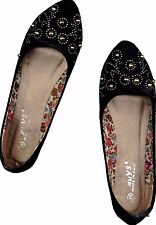 NWOB SHIMMERY♥TINY SPIKE STUDDED♥BLACK SUEDE  BALLET FLAT SHOES_S35/ 36