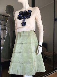 CHANEL Identification Vintage A-line Silk Skirt Gorgeous Mint Color