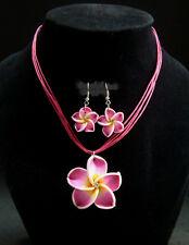 Purple Plumeria Hawaiian Necklace &Earrings Fimo Flower Handcraft Beach,Vacation