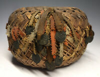 20th C Woven Basket w/ Ribbons & Medals Ethnic Tribal Tibetan - African - Native