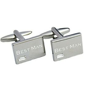 Engraved Cufflinks with Crystal stone in a Personalised engraved Chrome case