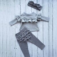 3Pcs Toddler Kids Baby Girl Autumn Clothes Ruffle T-shirt Tops+Pants Outfits Set