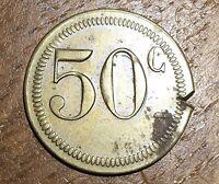 JETON EN LAITON DE 50 CENTS (20) VOIR PHOTOS
