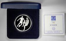 2004 GREECE OLYMPICS FOOTBALL SILVER 10 EURO PROOF - BOX & COA - PRICED RIGHT!