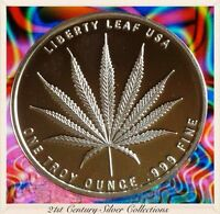 Mirrored Surface 1 oz .999 Silver Sativa Liberty Leaf proof-like round