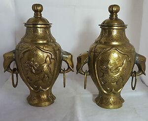 Pair of Beautiful Antique Heavy Brass Urns. Each Weight: 1.670Kg