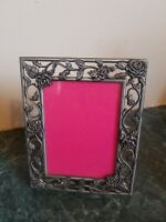 "Vintage Beautiful Ornate Silver Metal Picture Frame Holds 2.5"" x 3.5"" Roses"
