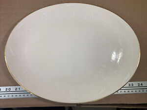 """Triomphe China Enamel Design Gold Trim Oval Platter 14"""" Great Condition!"""