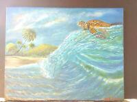 Original Acrylic Painting Sea Turtle Marine Life 16x20 Stretched Canvas Art
