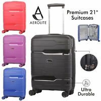 "Aerolite 55x40x20 Hard Shell 21"" Carry On Hand Luggage Cabin Bag Ultra Durable"
