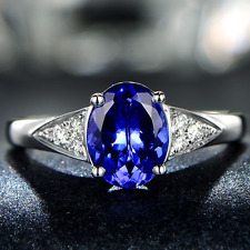 1.35ct Solid 14K White Gold 100% Natural AAA+ Tanzanite Diamond gorgeous Ring