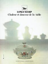 Publicité Advertising 107  1977   Porcelaine Longchamp  art de la table