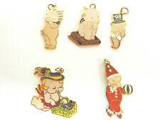 #18 Lot Of 5 Vintage Cloisonne Kewpie Charms-Various Brands-Thinker, Clown, '98