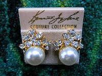 Kenneth Jay Lane Gold Crystal Flower Pearl Clip Earrings
