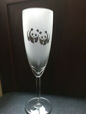 Personalised Etched Panda bear Champagne Glass Custom Gifts Free Shipping