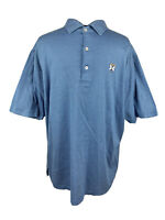 Peter Millar Mens Blue Striped Short Sleeve Athletic Golf Polo Shirt Size XL