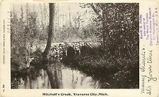 c.1906 Postcard; Mitchell's Creek, Traverse City MI, Undivided Back, Posted