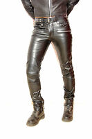 SkinTight leather biker skinny pipes pant jeans fetish punk rock custom made GTC