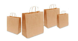 Kraft Brown Twist Handle Paper Party and Gift Carrier Bags With Twisted Handles