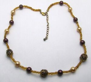 """18"""" Faux Burgundy/Honey Pearl/Green Cats Eye Choker/Necklace~Gold Core Seed Bead"""