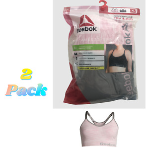 2 PACK Reebok Sports Bras Seamless Medium Support Stretch (1) Pink & (1) Gray XL