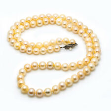 """Sterling Silver 925 8 mm Pearls Necklace 66.1 Grams 26"""""""