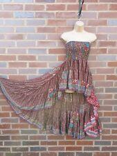 High Low Dress Bandeau Dipped Hem Poly Silk Summer Skirt Beachwear Holiday Party