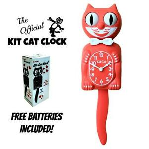 """LIVING CORAL KIT CAT CLOCK 15.5"""" Free Battery MADE IN USA Kit-Cat Klock New"""